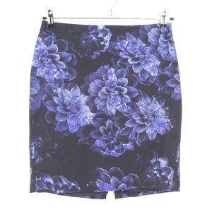 Ann Taylor Blue Floral Stretch Pencil Skirt  (X7)